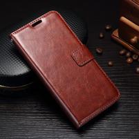 Wallet knížkové PU kožené pouzdro na Samsung Galaxy J5 (2017) - hnědé