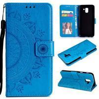Mandy PU kožené peněženkové pouzdro pro Samsung Galaxy J6 (2018) - modré