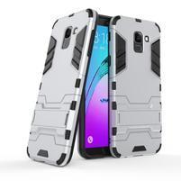Defender odolný hybridní kryt na mobil Samsung Galaxy J6 (2018) - stříbrný