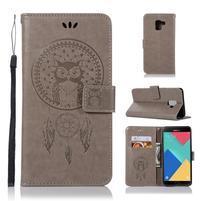 Owl PU kožené peněženkové pouzdro pro Samsung Galaxy J6 (2018) - šedé