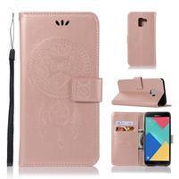 Owl PU kožené peněženkové pouzdro pro Samsung Galaxy J6 (2018) - rosegold