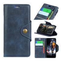 Wall PU kožené peněženkové pouzdro na Samsung Galaxy J6 - tmavěmodré