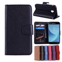 Skiny PU kožené peněženkové pouzdro na Samsung Galaxy J7 (2017) - černé