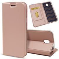 Magnetic PU kožené klopové pouzdro na Samsung Galaxy J7 (2017) - růžovozlaté