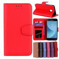 Skiny PU kožené peněženkové pouzdro na Samsung Galaxy J7 (2017) - červené