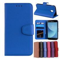 Skiny PU kožené peněženkové pouzdro na Samsung Galaxy J7 (2017) - modré
