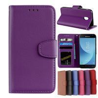Skiny PU kožené peněženkové pouzdro na Samsung Galaxy J7 (2017) - fialové