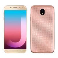 Fiber texturovaný gelový obal na Samsung Galaxy J7 (2017) - rose gold