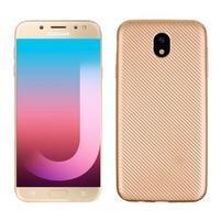 Fiber texturovaný gelový obal na Samsung Galaxy J7 (2017) - zlatý