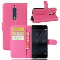 Graines knížkové pouzdro na mobil Nokia 5 - rose