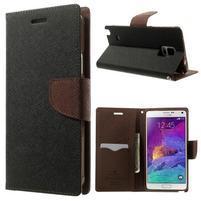 Diary PU kožené pouzdro na Samsung Galaxy Note 4 - černé/hnědé
