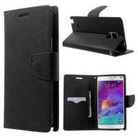 Diary PU kožené pouzdro na Samsung Galaxy Note 4 - černé