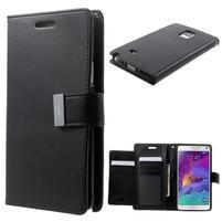 Rich Diary PU kožené pouzdro na Samsung Galaxy Note 4 - černé