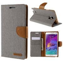 Canvas textilní/PU kožené pouzdro na Samsung Galaxy Note 4 - šedé