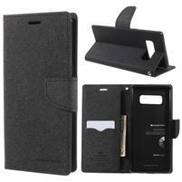 Diary PU kožené zapínací pouzdro na Samsung Galaxy Note 8 - černé