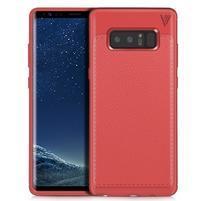 Leathy odolný obal s texturovanými zády na Samsung Galaxy Note 8 - červený
