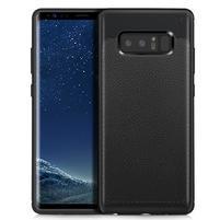 Leathy odolný obal s texturovanými zády na Samsung Galaxy Note 8 - černý