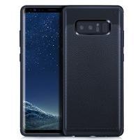 Leathy odolný obal s texturovanými zády na Samsung Galaxy Note 8 - tmavěmodrý