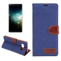 Jeans textilní/ PU kožené pouzdro na Samsung Galaxy Note 8 - modré