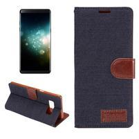 Jeans textilní/ PU kožené pouzdro na Samsung Galaxy Note 8 - tmavěmodré