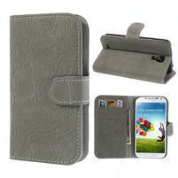 PU kožené peněženkové pouzdro na Samsung Galaxy S4 - šedé