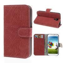 PU kožené peněženkové pouzdro na Samsung Galaxy S4 - červené