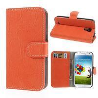 PU kožené peněženkové pouzdro na Samsung Galaxy S4 - oranžové