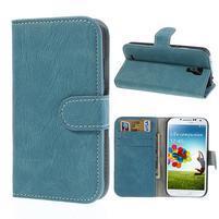 PU kožené peněženkové pouzdro na Samsung Galaxy S4 - modré