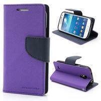 PU kožené peněženkové pouzdro na Samsung Galaxy S4 mini - fialové