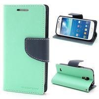 PU kožené peněženkové pouzdro na Samsung Galaxy S4 mini - cyan