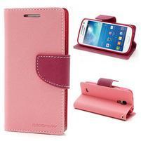 PU kožené peněženkové pouzdro na Samsung Galaxy S4 mini - růžové