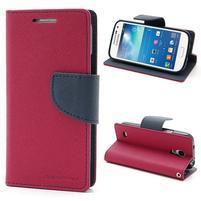PU kožené peněženkové pouzdro na Samsung Galaxy S4 mini - rose