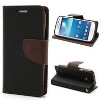 PU kožené peněženkové pouzdro na Samsung Galaxy S4 mini - hnědé/černé