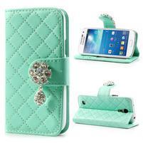 Luxusní šperkové peněženkové pouzdro na Samsung Galaxy S4 mini - světle zelené