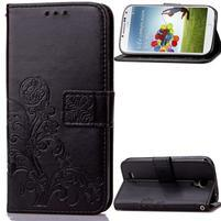 Čtyřlístek PU kožené pouzdro na Samsung Galaxy S4 Mini - černé