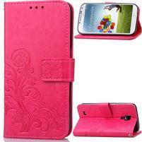 Čtyřlístek PU kožené pouzdro na Samsung Galaxy S4 Mini - rose