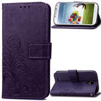 Čtyřlístek PU kožené pouzdro na Samsung Galaxy S4 Mini - fialové