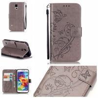 Motýlkové PU kožené pouzdro na Samsung Galaxy S5 - šedé