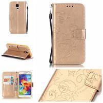 Motýlkové PU kožené pouzdro na Samsung Galaxy S5 - zlaté