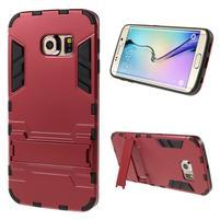 Defender odolný obal se stojánkem na Samsung Galaxy S6 Edge - červený