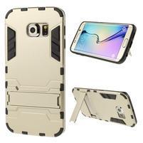 Defender odolný obal se stojánkem na Samsung Galaxy S6 Edge - zlatý