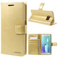 BlueMoon PU kožené pouzdro na Samsung Galaxy S6 Edge - zlaté