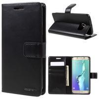 BlueMoon PU kožené puzdro na Samsung Galaxy S6 Edge - čierne