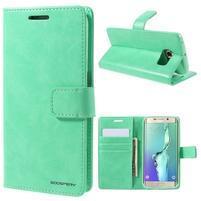 BlueMoon PU kožené pouzdro na Samsung Galaxy S6 Edge - azurové