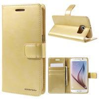 BlueMoon PU kožené pouzdro na Samsung Galaxy S6 - zlaté