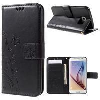 Butterfly PU kožené zapínací pouzdro na Samsung Galaxy S6 - černé