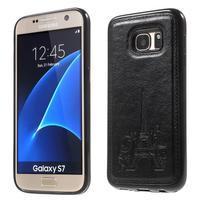 Cloth gelový obal s PU koženými zády na  Samsung Galaxy S7 - černý