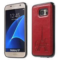 Cloth gelový obal s PU koženými zády na  Samsung Galaxy S7 - červený