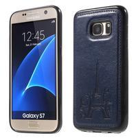 Cloth gelový obal s PU koženými zády na  Samsung Galaxy S7 - tmavěmodrý