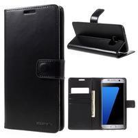 BlueMoon PU kožené puzdro na Samsung Galaxy S7 Edge - čierne